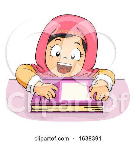 Kid Girl Muslim Lean Table Book Illustration by BNP Design Studio