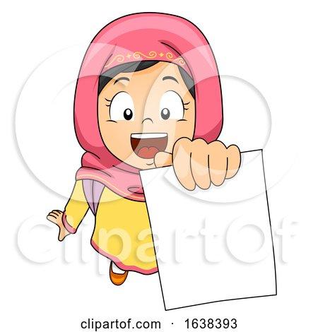 Kid Girl Muslim Showing Test Paper Illustration by BNP Design Studio
