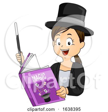 Kid Girl Read Magic Book Wand Illustration by BNP Design Studio