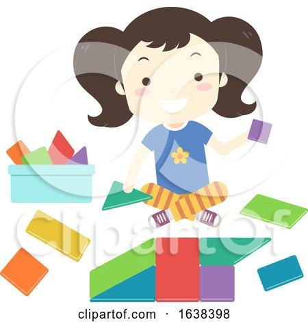 Kid Girl Build Toy Shape Blocks Illustration by BNP Design Studio