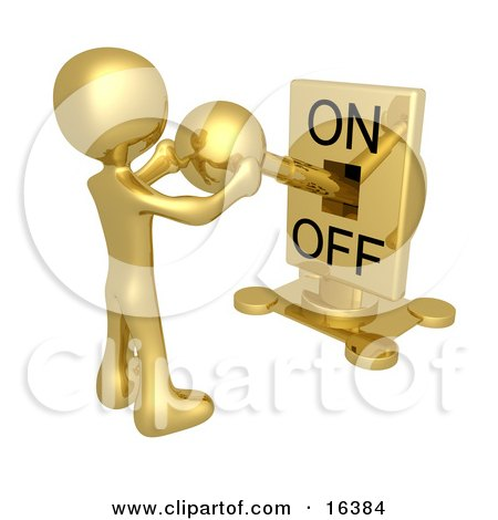 Gold Person Holding A Switch And Turning The Lever On  Posters, Art Prints