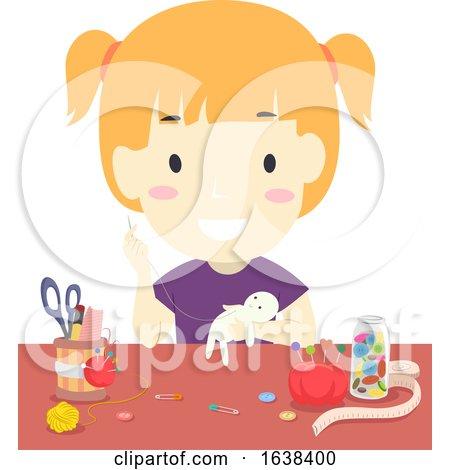 Kid Girl Doll Making Illustration by BNP Design Studio