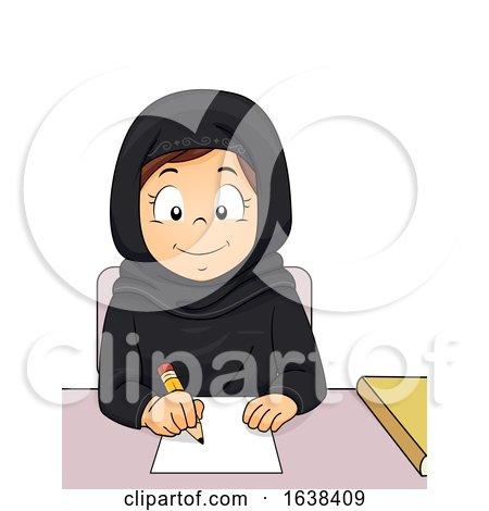 Kid Girl Qatar Study Write Illustration by BNP Design Studio