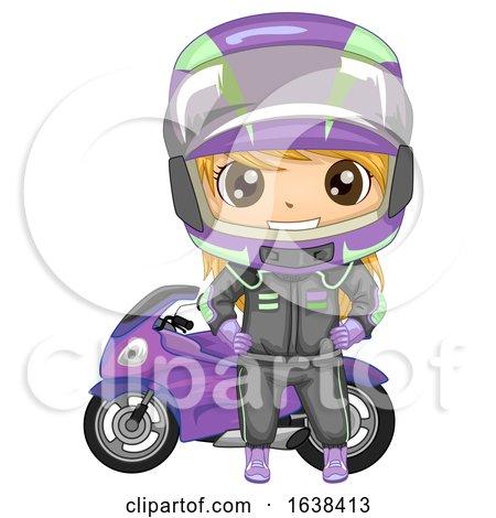 Kid Girl Sports Motor Racing Illustration by BNP Design Studio