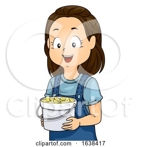 Kid Girl Token Bucket Illustration by BNP Design Studio