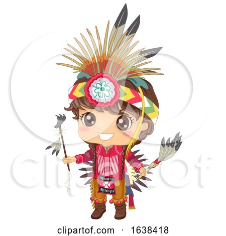 Kid Boy Native American Apache Illustration by BNP Design Studio