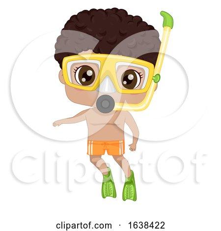 Kid Black Boy Snorkeling Illustration by BNP Design Studio