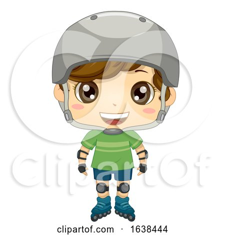 Kid Boy Pose Roller Blades Illustration by BNP Design Studio