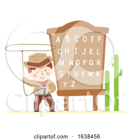Kid Boy Cowboy Rope Alphabet Board Illustration by BNP Design Studio