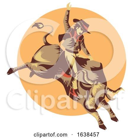 Man Cowboy Bull Ride Illustration by BNP Design Studio