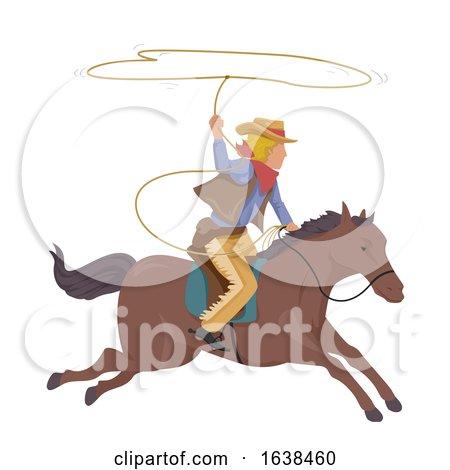 Man Cowboy Horse Lasso Rope Illustration Posters, Art Prints