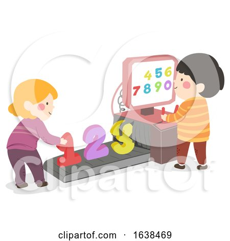 Kids Scanning Machine Numbers Illustration by BNP Design Studio