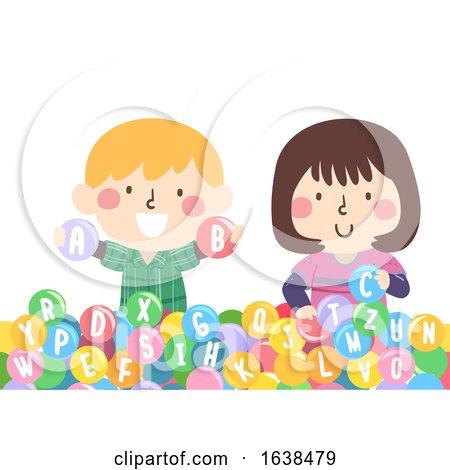 Kids Ball Pit Fluffy Letters Illustration by BNP Design Studio