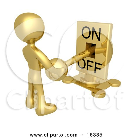Gold Person Holding A Switch And Turning The Lever Off Clipart Illustration Graphic by 3poD