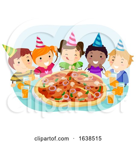 Stickman Kids Pizza Birthday Party Illustration by BNP Design Studio