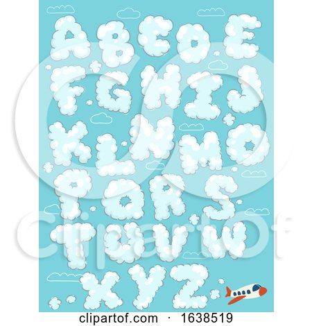 Airplane Clouds Alphabet Illustration by BNP Design Studio