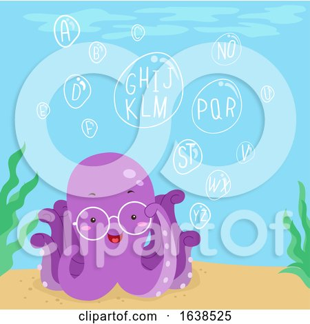 Octopus Ocean Bubbles Alphabet Illustration by BNP Design Studio