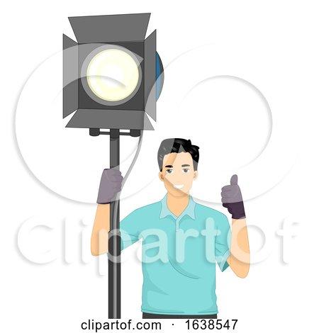Man Light Technician Illustration by BNP Design Studio