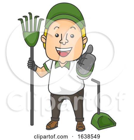 Man Poop Cleaner Job Ok Illustration by BNP Design Studio