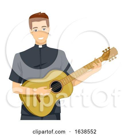 Man Priest Guitar Illustration by BNP Design Studio