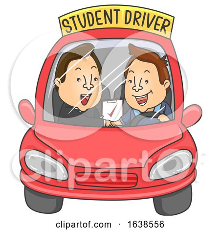 Man Student Driver Instructor Pass Illustration Posters, Art Prints