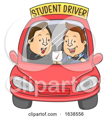 Man Student Driver Instructor Pass Illustration by BNP Design Studio