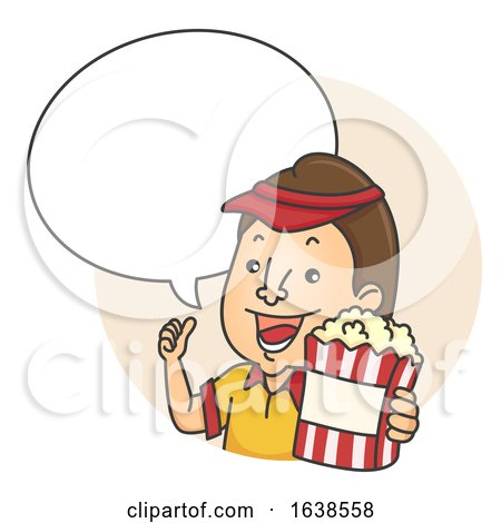 Man Popcorn Speech Bubble Illustration by BNP Design Studio