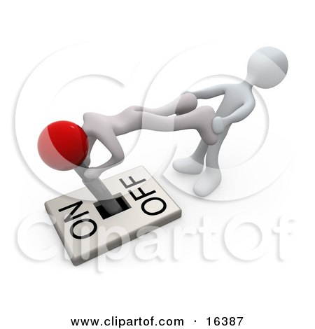 Two White People Trying To Turn A Lever Switch To The Off Position Clipart Illustration Graphic by 3poD