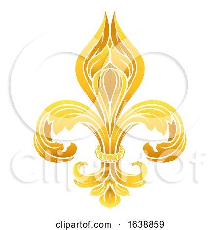 Fleur De Lis Gold Graphic Design by AtStockIllustration