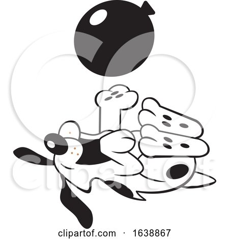 Cartoon Black and White Dog Rolling on His Back and Playing with a Balloon by Johnny Sajem