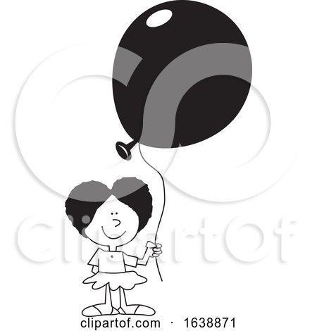Cartoon Black Girl Holding a Balloon by Johnny Sajem