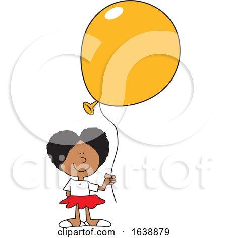 Cartoon Black Girl Holding a Yellow Balloon by Johnny Sajem