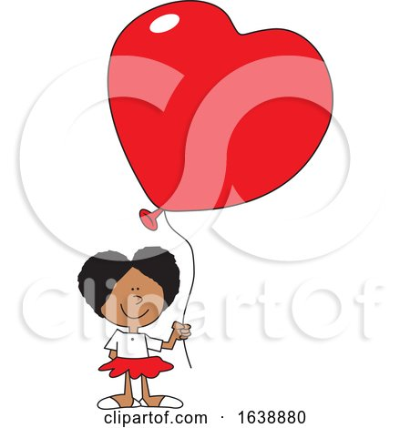 Cartoon Black Girl Holding a Heart Balloon by Johnny Sajem