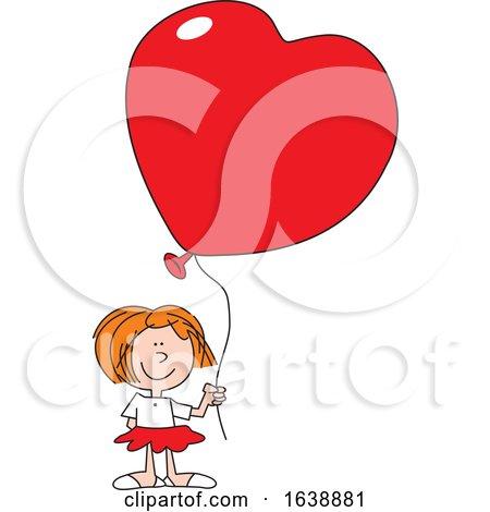 Cartoon White Girl Holding a Heart Balloon by Johnny Sajem