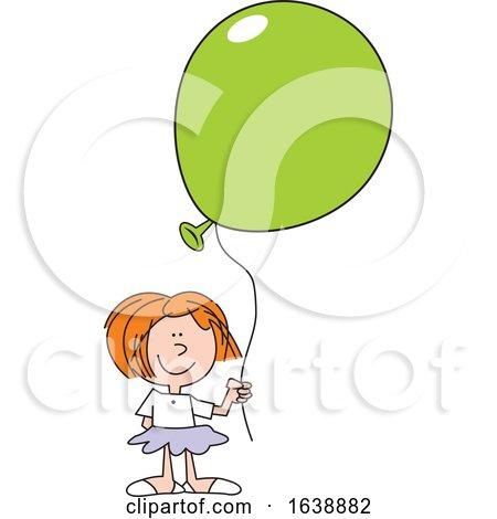 Cartoon White Girl Holding a Green Balloon by Johnny Sajem