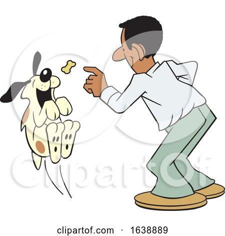Cartoon Black Man Tossing a Treat to a Dog by Johnny Sajem