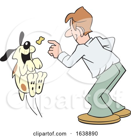 Cartoon White Man Tossing a Treat to a Dog by Johnny Sajem