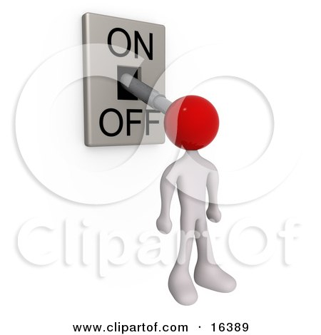 White Person With A Red Head Attached To An On/off Switch Lever, Set To Off Clipart Illustration Graphic by 3poD