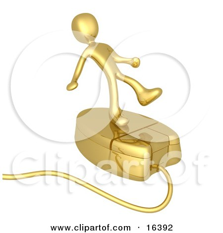 Gold Person Trying To Maintain His Balance While Riding On A Golden Computer Mouse And Surfing The Internet Clipart Illustration Graphic by 3poD