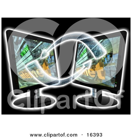 Two Black Flat Screen Lcd Computer Monitor Screens Facing Eachother And Transfering Data Clipart Illustration Graphic by 3poD