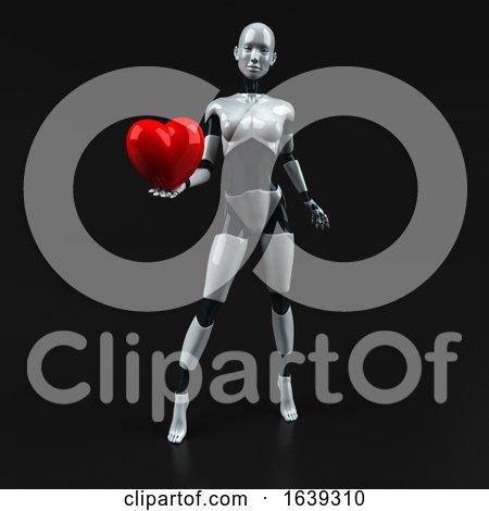3d Feminine Robot, on a Black Background Posters, Art Prints