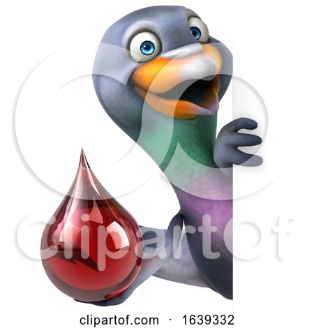3d Pigeon, on a White Background by Julos