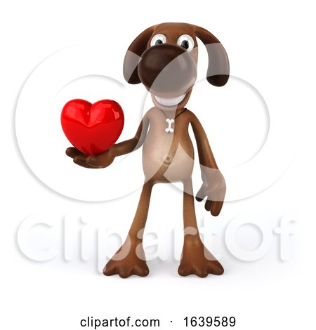3d Brown Chocolate Lab Dog, on a White Background Posters, Art Prints