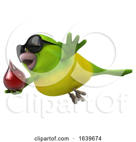 3d Green Bird, on a White Background by Julos