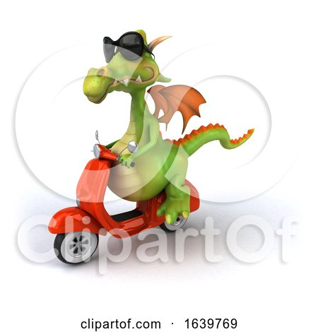 3d Green Dragon Riding a Scooter, on a White Background by Julos