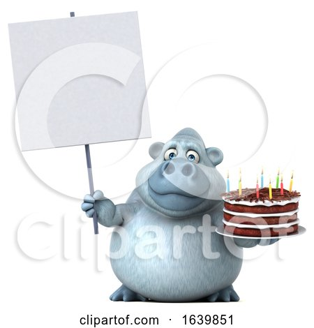 3d White Monkey Yeti Holding a Birthday Cake, on a White Background Posters, Art Prints