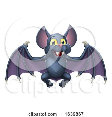 Cute Bat Halloween Vampire Animal Cartoon by AtStockIllustration