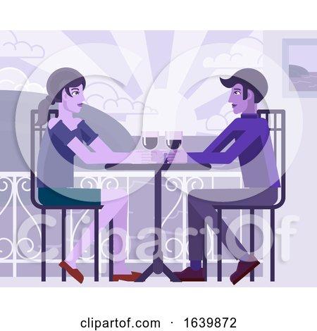 Young Couple Sea Side Restaurant Cartoon by AtStockIllustration
