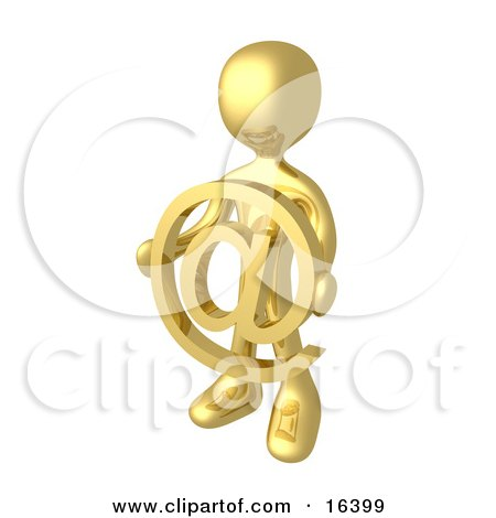 Gold Person Holding A Golden At Symbol in Front of Him Clipart Illustration Graphic by 3poD