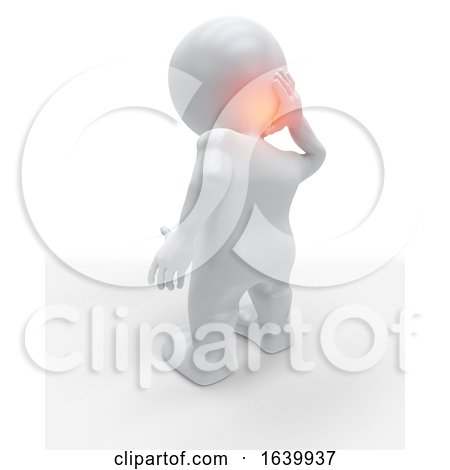 3D Figure Holding the Back of His Head in Pain by KJ Pargeter